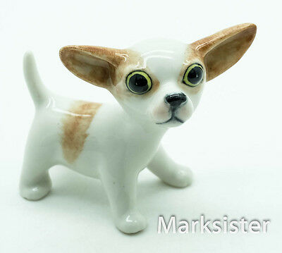 Figurine Animal Ceramic Statue White & Brown Chihuahua Dog - CDG176