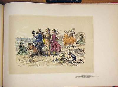 Antique Print Hand Colored Drawing Sea Side Sketch Family Telescope 435711