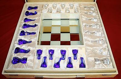 Villeroy and Boch Rare Antique Crystal Chess Set Complete Original Case