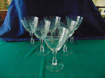 Vintage Cambridge Harvest Crystal Cut #3750 wheat stemware wine glasses: 6pc