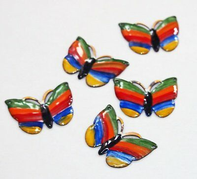 5pc vintage hand painted enamel Butterfly Enamel Charms Pendants Crafts