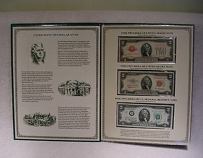 Two Dollar Note Folio Collection - $2 Currency Bill - 1928 1953 1976  2003 Uncut
