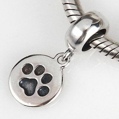 925 Solid Sterling Silver Dog Cat Paw Print Dangle Charm Bead