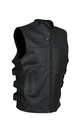 Men's SWAT Tactical Motorcycle Biker Leather vest with two concealed gun pockets