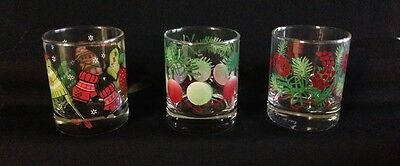 3 Yankee Candle Company Christmas Glass Votive Candle Holders Shot Glasses