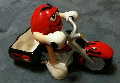 2004 Red M&M Riding Motorcycle Ceramic Candy Dish Lincensed by Galerie