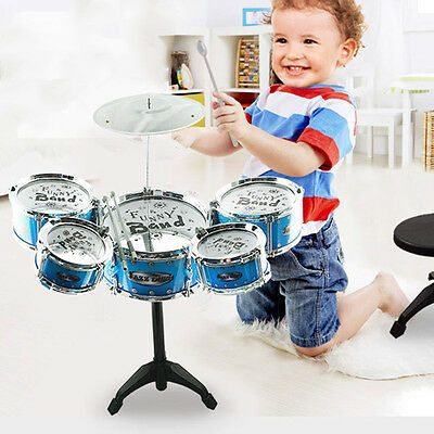 New Kid Musical Toy Simulation Drum Kit Percussion Instrument Beginner Cool Gift
