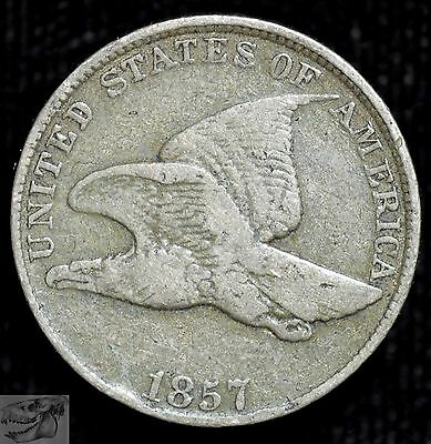 1857 1C Flying Eagle Cent, Fine+ Condition, United States Penny, Free Ship C3756
