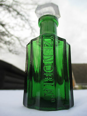 SMALL GREEN PERFUME BOTTLE WITH GROUND IN STOPPER c1900 CHEMIST MEDICINE POISON