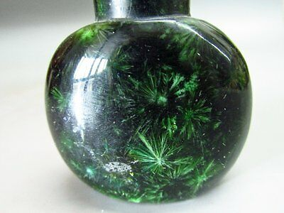 Chinese Olive Green Pine Needle Fossil Stone Snuff Bottle