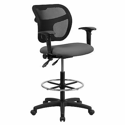 Mid-Back Mesh Drafting Chair with Gray Fabric Seat and Height Adjustable Arms Ne