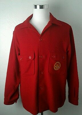 Men's Vintage Boy Scouts of America Patch Official Jacket Red Wool Blend Size 46