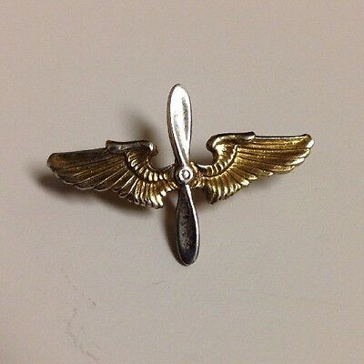 WW2 US Army Air Corps Cadet Pilot Sterling Silver Propeller Gold Wing Pin WWII