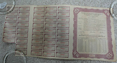 China The 29th Year Reconstruction Gold Loan 1940, $5 USD Bond w Coupons Final