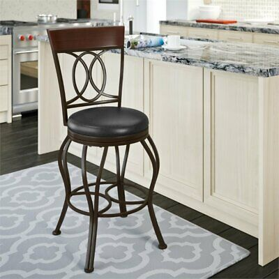Jericho 26 Counter Stool With Bonded Leather Seat In Dark Brown