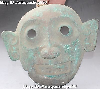 """9"""" Old Chinese Dynasty Palace Bronze Human Man Head Face Statue Vizard mask"""