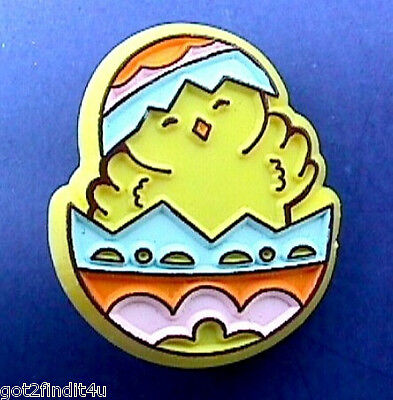 Buy3/Get1FREE~Easter PIN Baby CHICK in EGG Holiday Vtg Holiday Brooch