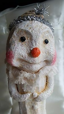 "11"" Paper Mache' Bethany Lowe ? Snowman Mica Primitive Music Crepe collar NWOT"