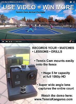 Tennis Cam 1080p HD VideoCam and Fence Tennis Camera Mount
