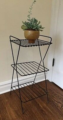 Mid Century Black Iron Metal Telephone  3 Tier Table Wire Rack Stand Eames Era