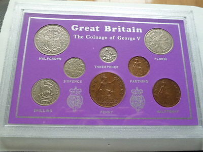 Pre1947Silver-George V 1931 set of coins.Good coin set,nice silver .500