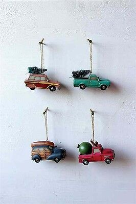Retro 1960's Cars Woody Car Truck with Pine Trees Set of 4 Christmas Ornament