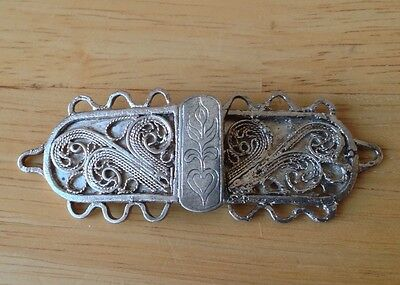 Antique Silver Belt Buckle - Filagree Decoration - Collectable New Price £35.00!