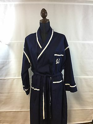 Vintage 70's Christian Dior Monsieur Belted Robe 100% Cotton Men's One Size Navy