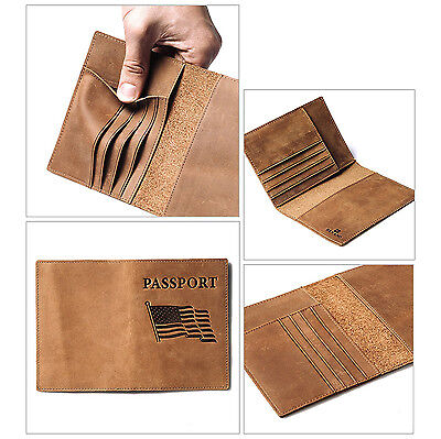 Passport Holder RFID Blocking Natural Leather Travel Wallet Document Cover Case