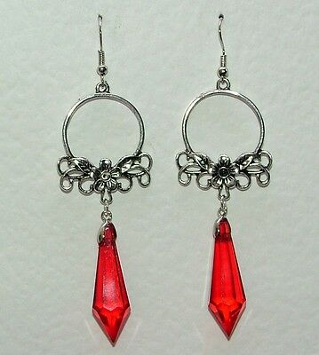 Long Art Nouveau Style Faceted Red Dark Silver Plated Flower Earrings Fns