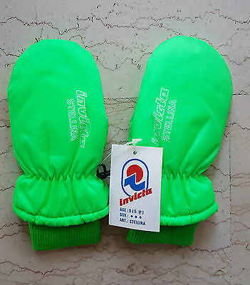 INVICTA fluo vintage muffole guanti NOS gloves ski winter padded muffol thermore