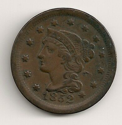 Large Cent 1852  Braided Hair Coin  US Nice Dark Brown   M20