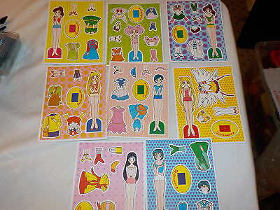 Sailor Moon Pretty Soldier Paper Doll lot x8 different Unpunched vintage