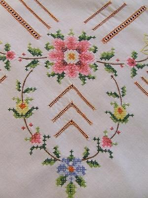 Embroidered White Cotton Tablecloth - Extensive Crosswork Pattern - 124 x 118 cm