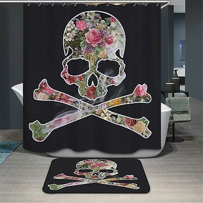 3D Shower Curtain Polyester Waterproof Curtain & Bath Mat Set for Bathroom Decor