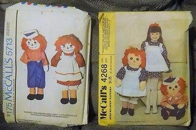 McCall's 5713 & McCall's 4268  ///  Raggedy Ann & Andy Patterns   ///  1970's