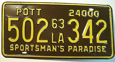 Quality 1963 Louisiana Private Owned Tandem Truck 24000 License Plate 502*342
