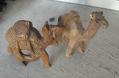 "Lot of 2 Vintage 1960s Camel Figurines Resin and Carved Wood 3 and 3 1/4"" Tall"