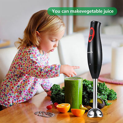 Hand Blender Electric Fruit Vegetable Chop Mixer Anti-Splash Blade 300W 2 Speed
