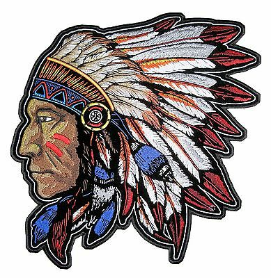 Large Native American Indian Chief Headdress Embroidered Biker Patch