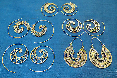 5 PAIR BRASS EARRINGS NEW DESIGN MIX WHOLESALE LOT 30.72 Gms