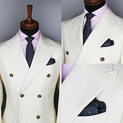 Men's Double Breasted Wedding Groom Tuxedos Groomsman Best Man Party New Suits