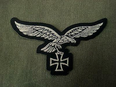 German Luftwaffe Silver Eagle with Iron Cross Woven Patch Sew On