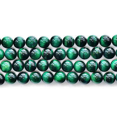 """Natural 5A Green Tiger's Eye Stone Gemstone Round Spacer Loose Beads 15"""""""