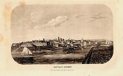 Original 1860 Panoramic Map View BUFFALO HARBOR New York NY Fine Steel Engraving