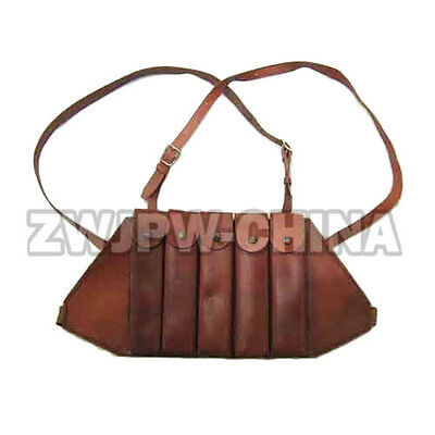 WW2 WWII China Russia AK47 Leather Magazine Pouch Bag 5 Clips Thompson Chest Rig