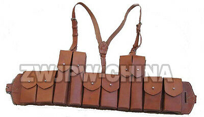 WW2 China Army Leather Hunting Submachine Gun 10 Clips Folder Pouch Bag Package