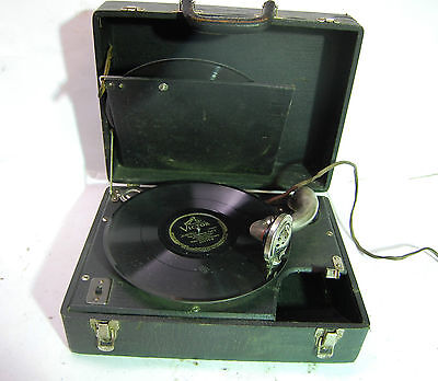 Vintage Portable 78 RPM Phonograph Record Player, Electric AC