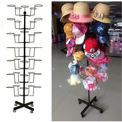 Retail Commercial Hat Rack Rotating Display Hat Stand Holds 35 Hats CAP.Durable