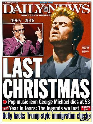 New York Daily News December 26 2016 George Michael Dead Tribute Newspaper New